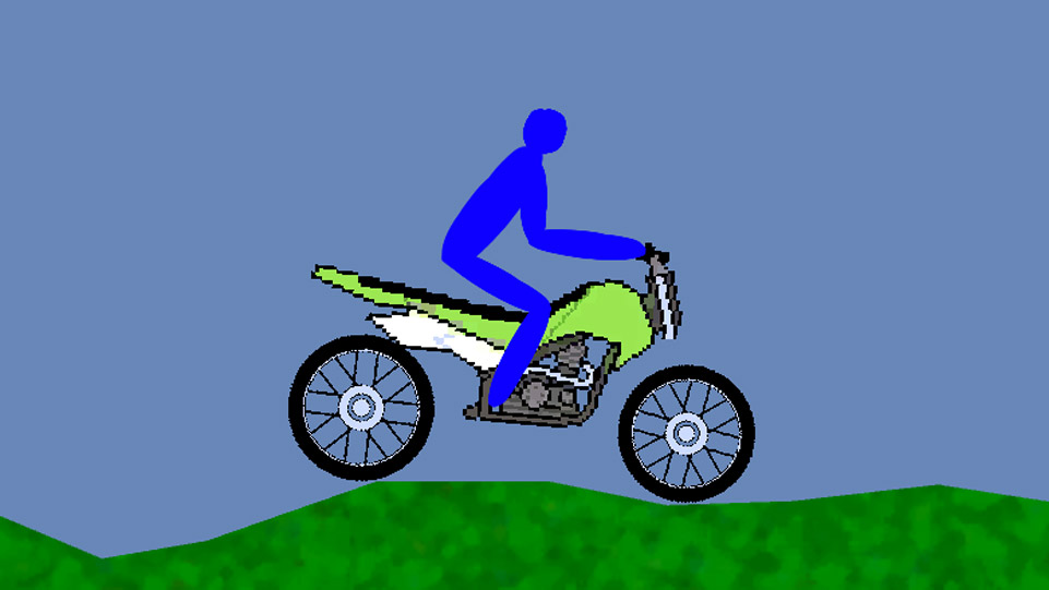Screenshot of BikeGame, showing 2d image of motorbike on rough terrain.
