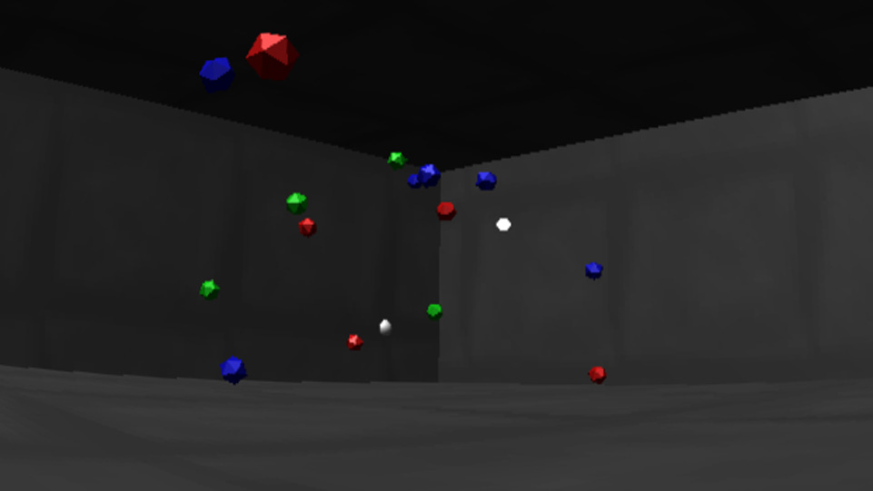 Screenshot of Block Avoider. Image shows player looking at different colour blocks flying around a grey concrete room.