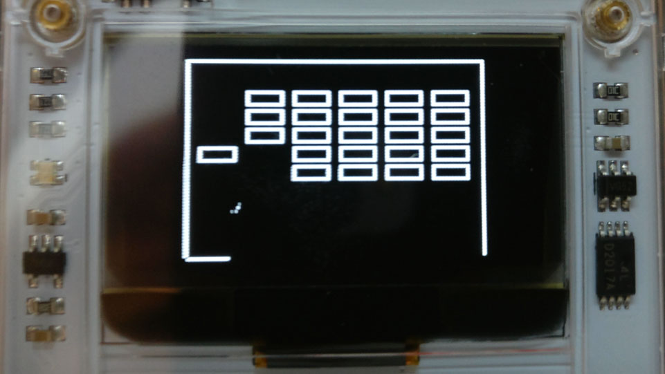 Screenshot of part of the game Slab Splitter on Arduboy hardware.