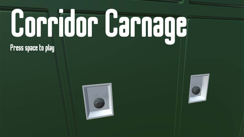 Screenshot of Corridor Carnage, showing green lockers from a school corridor.