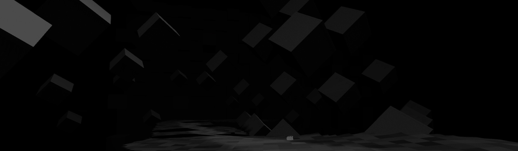 An abstract dark floating road with shadowed cubes surrounding the road on all sides