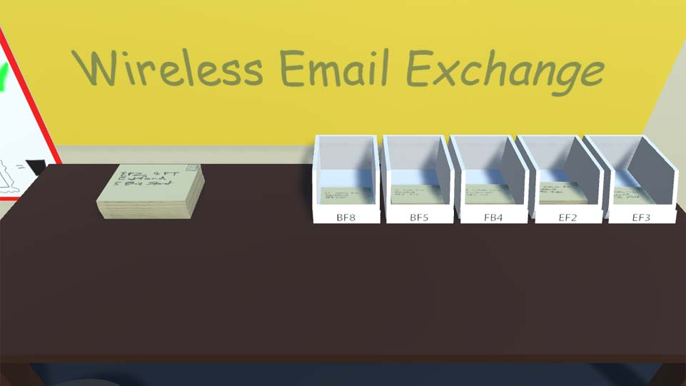 Screenshot of InboxOutbox, showing a wooden desk with a pile of letters on, ready to be sorted into the correct postcodes.