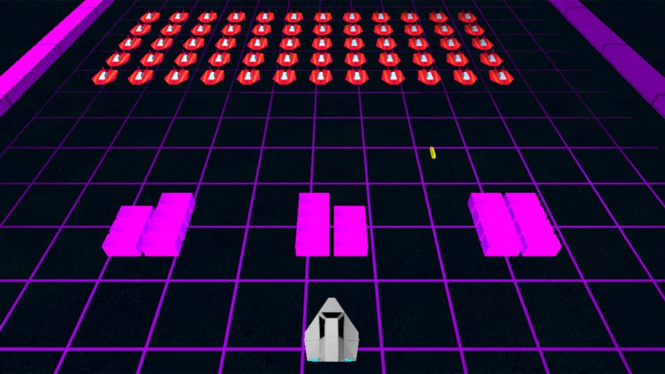 Screenshot of Invaders, showing the players space ship facing a large armarda of enemies.