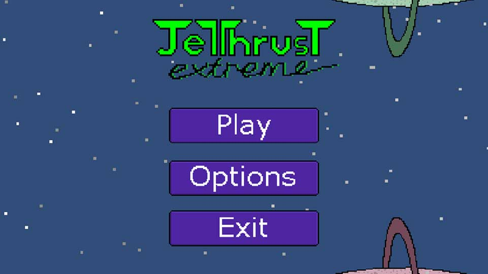 Screenshot of the JetThrust Extreme menu screen, with two planets with rings in the background.