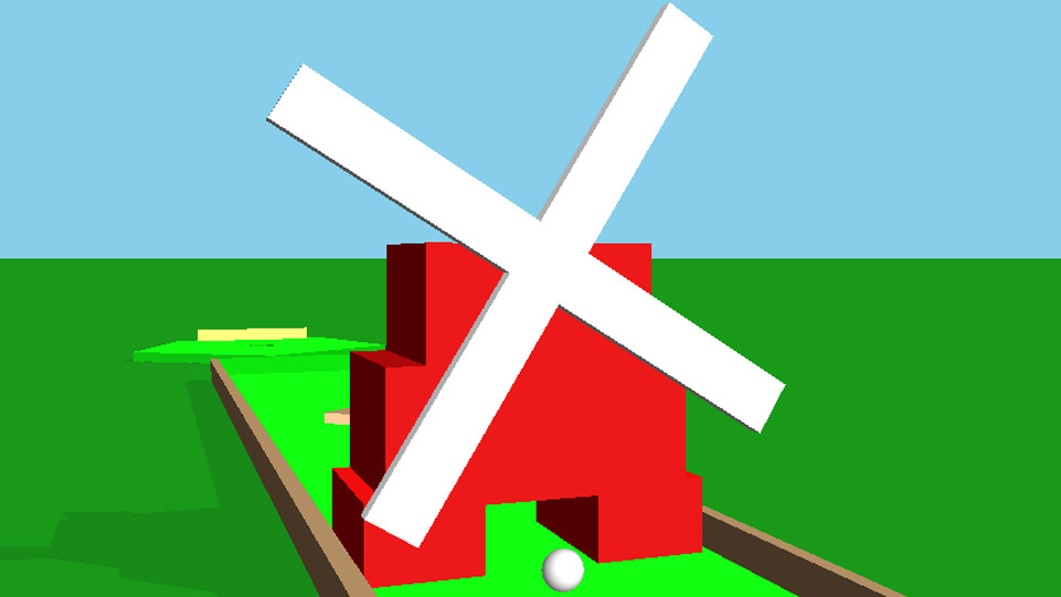 Screenshot of a minigolf windmill from minigolf game, with ball passing under it, with the hole in the background.
