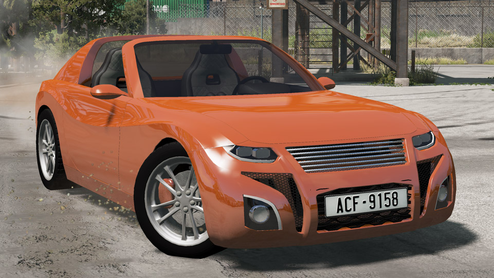 Rendering of the Raven R20 (vehicle) from the front. The R20 is a sports convertable vehicle.