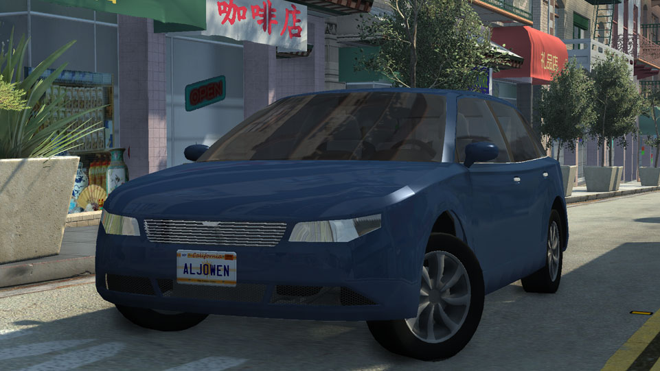 Screenshot of the Raven R60 (vehicle) in blue, parked on a chinatown street. The R60 is a small hatchback vehicle with 4 doors.
