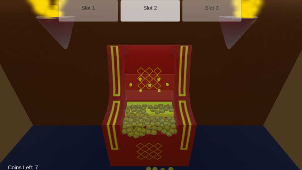 Screenshot of SlotALot, showing a single red slot machine in a room, with coins on the floor that have fallen out.