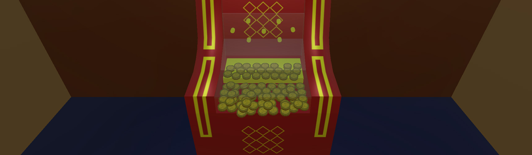 A red and gold coin pusher machine covered in coins