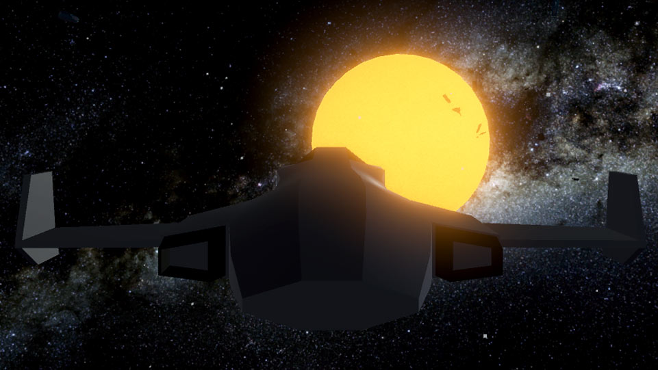 Screenshot of a spaceship facing towards a bright yellow star as a battle occours in the stars glow.
