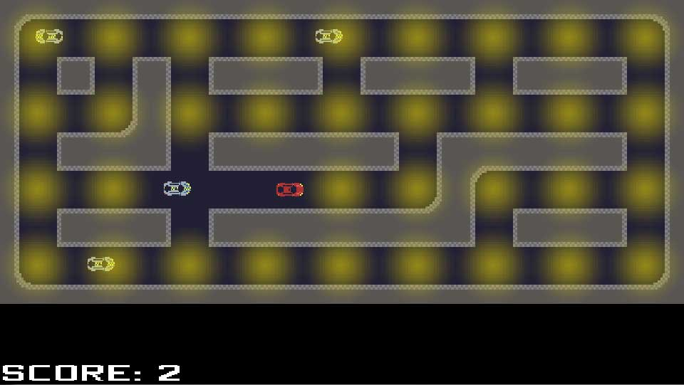 Screenshot of StreetLight Sabotage, showing a car knocking out streetlights in a city while being chased by police cars.
