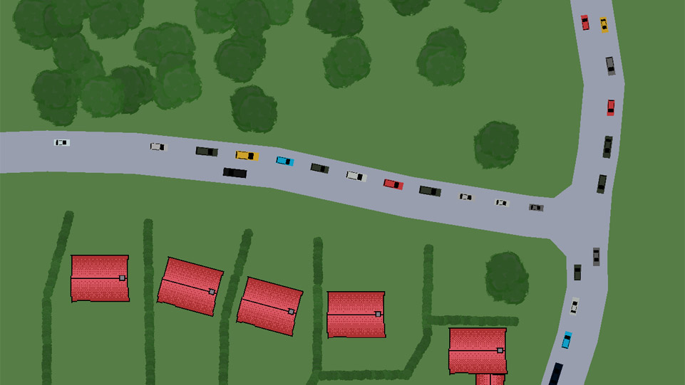 Screenshot of the game showing a birds eye view of traffic traversing a series of junctions.